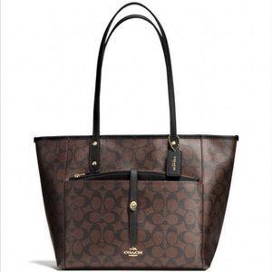 Coach Signature City Tote Zipper Handbag Purse
